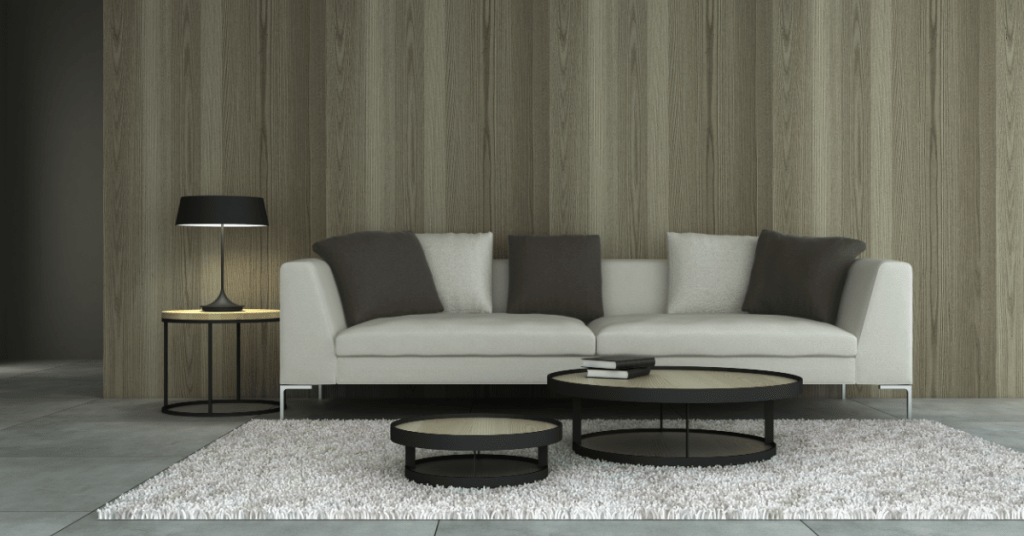 earthy colors living room with an off-white couch